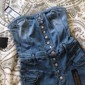 Bebe denim strapless jumpsuit size 27